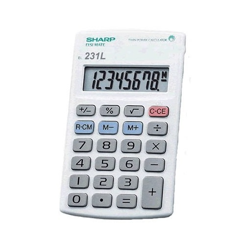 Sharp Calculator EL231LB 8 Digit LG Display Battery Operated