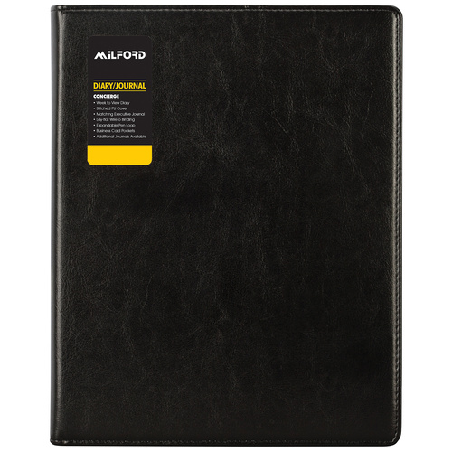 2019 Milford Executive Diary Jornal A5 Concierge Week To View - Black **PLUS FREE GIFT**