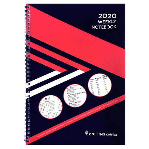 2020 Colplan Diary A4 Week to a Page With Notes Red/Blue