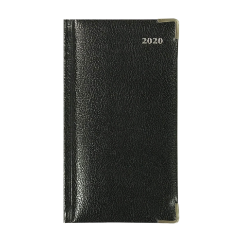 2020 Collins Diary B6/7 Slimline Management Week To View Landscape Bonded Leather - Black