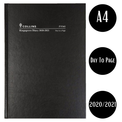 Diary Kingsgrove DTP 2020/2021 Financial Year - Day To Page - Black