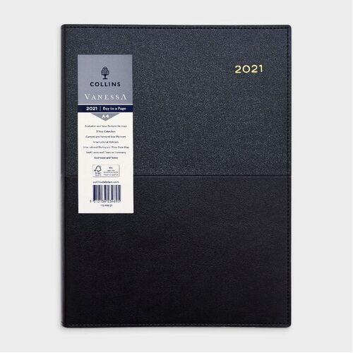 Collins A4 Day to Page 2021 Vanessa Diary - Black