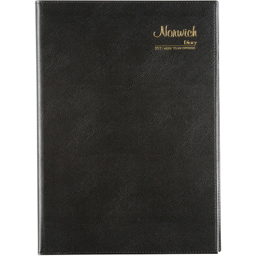 Cumberland Norwich A4 Week To View 2021 Diary PVC - Black