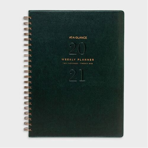 At A Glance A4 Week To Open 2021 Signature Diary Planner - Green