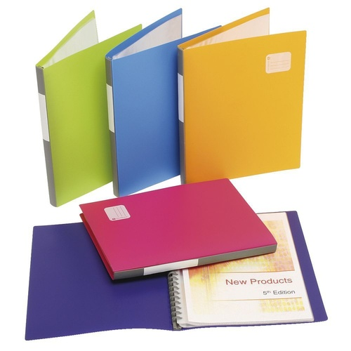 Marbig A4 20 Pocket Refillable Display Book Assorted