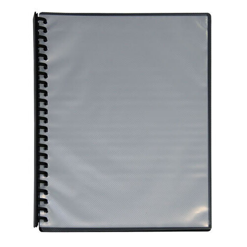 Cumberland A4 Refillable Display Book 20 Page Clear Front - Black
