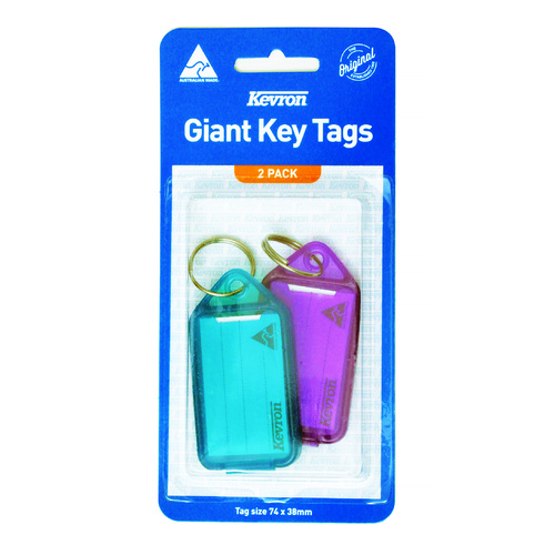 Kevron Key Tags Giant 2 Pack - Assorted Colours