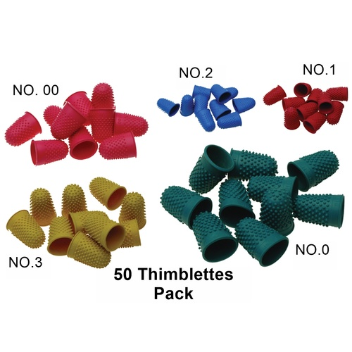 50 X Superior Thimblettes Bundle (10 Each) Size 00 Pink, 0 Green, 1 Red, 2 Blue, 3 Yellow