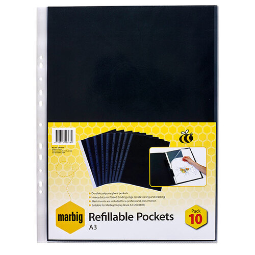 Marbig Display Book Pocket Refills A3 10 Page Black Inserts