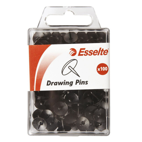 Esselte Drawing Pins Push Pins Box 100 - Black