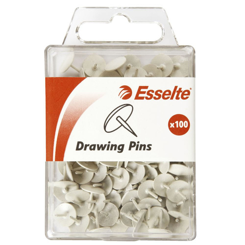 Esselte Drawing Pins Push Pins Box 100 - White