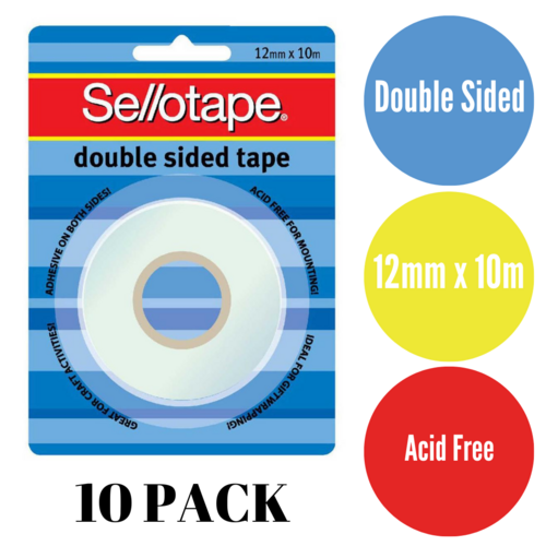10 X Sellotape Double Sided Tape No.104 12mmx10m Acid Free
