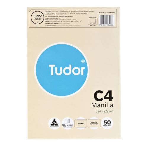 Tudor Envelope Peel/Seal C4 Manilla Recycled 50 Pack