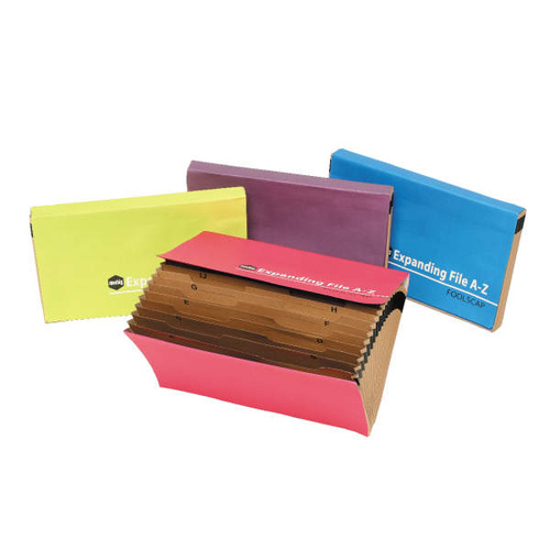 Marbig Expanding Files A-Z Foolscap 21 Pockets - Summer Colours