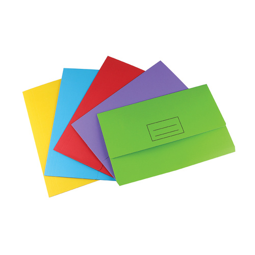 Stat A4/Foolscap Document Wallet File Folder 25 PACK  - Assorted Colours