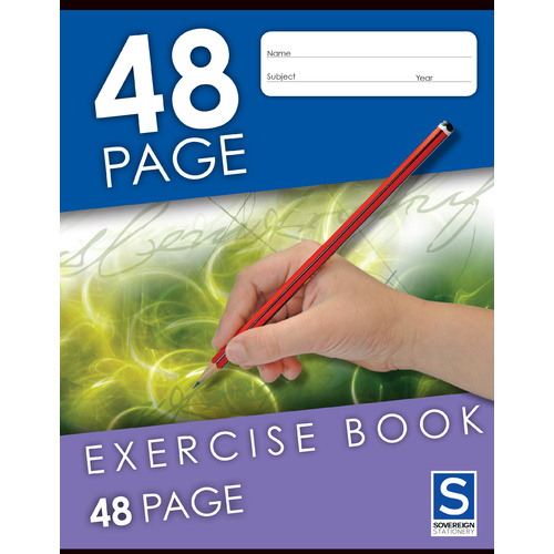 Sovereign Exercise Book 225x175mm 8mm Ruled 48 Page - 5 Pack