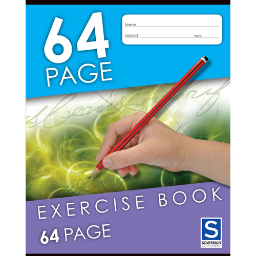 Sovereign Exercise Book 225x175mm 8mm Ruled 64 Page - 10 Pack