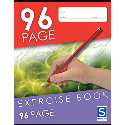 Sovereign Exercise Book 225x175mm 8mm Ruled 96 Page - 5 Pack