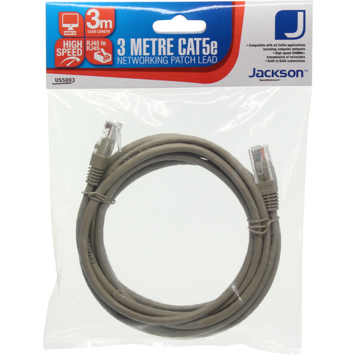 Jacksons Networking Patch Lead CAT5E - 3 Metres