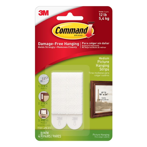 3M Command Small Picture Hanging Strips White 5.4kg 4 Pack - 17201