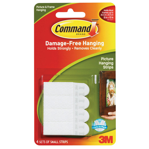 3M Command Small Picture Hanging Strips White 1.8kg 4 Pack - 17202