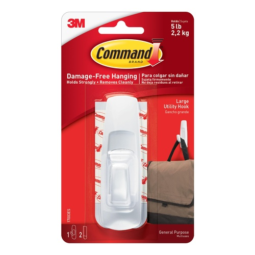 3M COMMAND Damage-Free Hanging Large Hook With 1 Hooks & 2 Strips 2.2kg - 17003