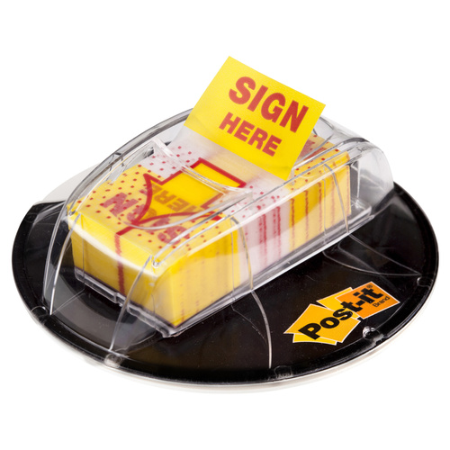 Post-it Flags 25mm 680-HVYSH Desk Grip Dispenser Sign Here Yellow - 200 Pack