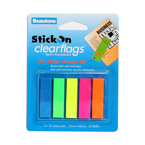 Beautone Stick On Flags 12x45mm ClearFlags - 5 Colours