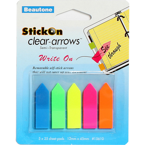 Beautone Stick On Arrows 12x45mm Clear Assorted Colours