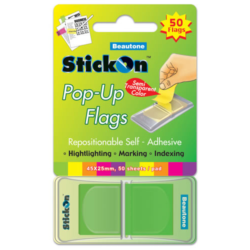 Beautone Stick On Flags Pop-up 45x25mm Lime - 50 Sheets