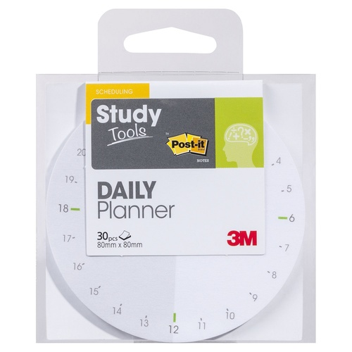 Post-it Study Tools Daily Planner Round 30 Pieces 80mm x 80mm