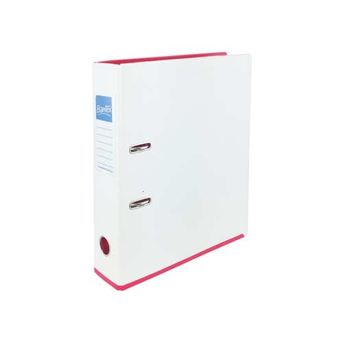 Bantex Lever Arch File A4 Strongline 70mm  - White/Pink