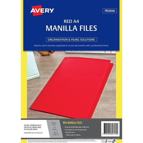Avery A4 Manilla Folder 20 Pack Strong & Durable - Red