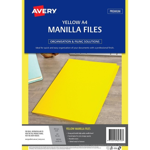 Avery A4 Manilla Folder 20 Pack Strong & Durable - Yellow