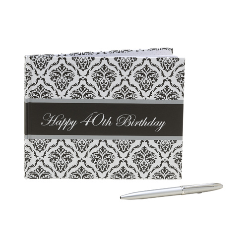 Guest Book With Pen 40th Birthday - Unisex