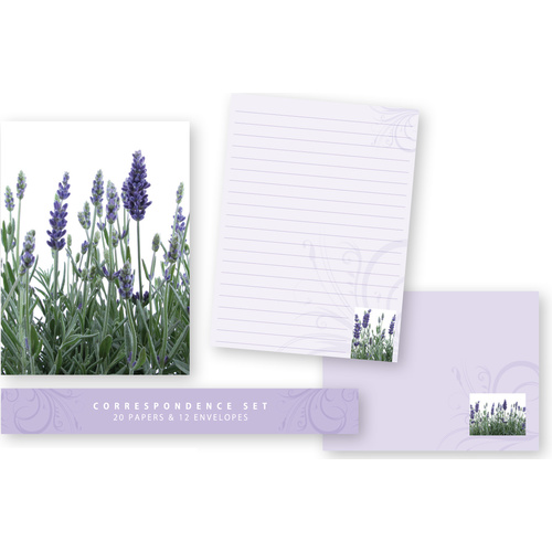 Ozcorp Correspondence Set 20 Sheets +12 Envelopes - Lavender