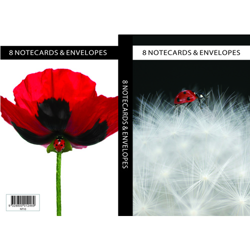 Ozcorp Notelet Set, 8 Notecards + 8 Envelopes  - Poppy/Clouds