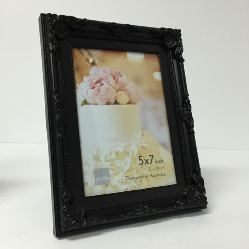 Profile Photo Frame Picture Frame Black Ornate 5 x 7""