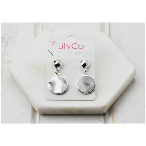 Silver Battered Disc Earring Fashion Jewellery - NEW STOCK