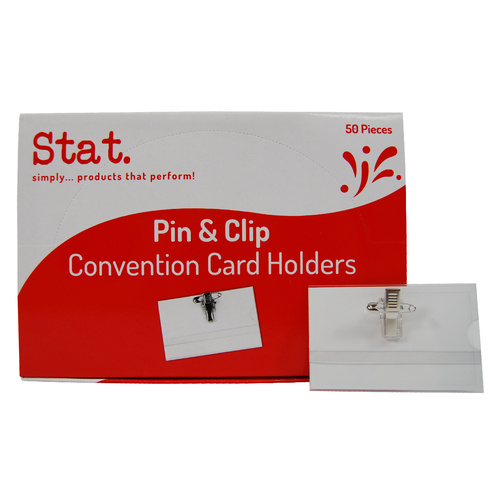 50 X Stat Conference Name Badge & Card Holder Pin & Clip