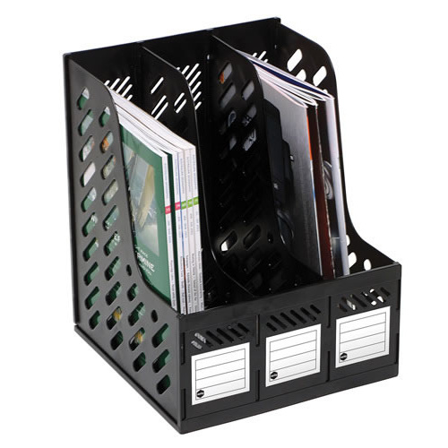 Marbig 4 Section Magazine Rack Organiser For Home Office, Papers Documents - Black