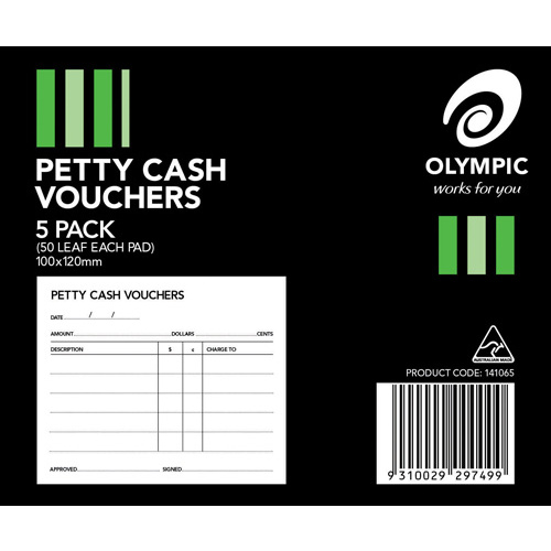Olympic Petty Cash Pad Vouchers 120 x 100mm 50 leaf - 5 Pack