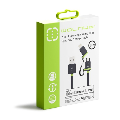 MFI 2 In 1 Lightning/Micro USB Cable 1.2 Metre, iPhone, iPad or iPod Charger - Black/Green
