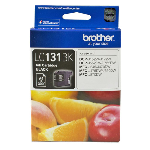 Brother Genuine LC-131BK BLACK Ink Cartridge For DCPJ152W DCPJ172W DCPJ552DW - 300 Pages