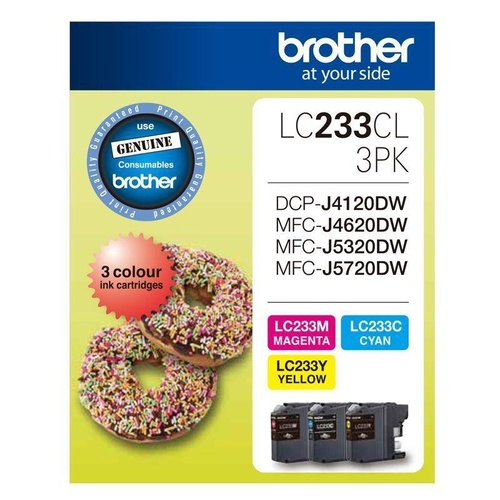 Brother Genuine LC-233 Colour Value Pack Ink Cartridge Set Magenta,Cyan,Yellow