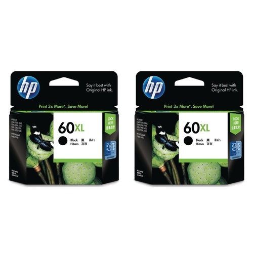 2 X HP 60 HP Genuine Ink Cartridge High Yield BLACK - Gst Include invoice Supplied