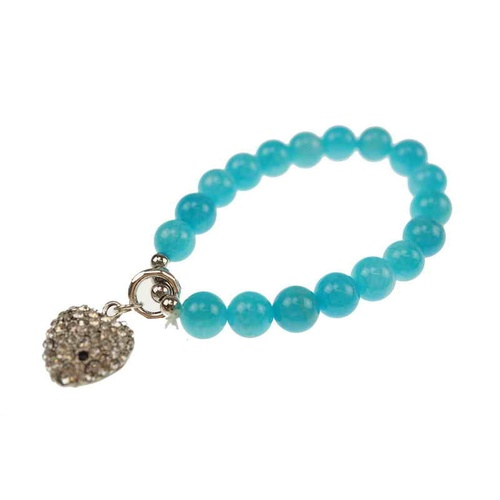 Stretchable Bracelet Blue With Silver Heart