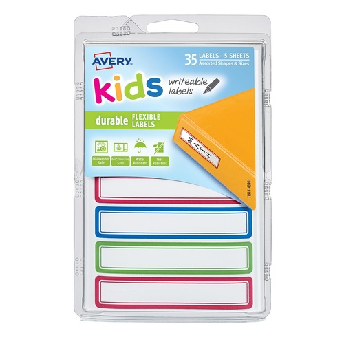 Avery 41440 Labels Writable, Durable & Flexible Kids Id Blue/Green/Red 35 Per Pack
