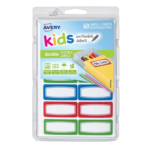 Avery 41441 Labels Writable, Durable & Flexible Kids Id Blue/Green/Red 60 Per Pack
