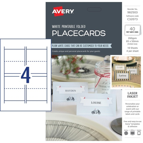 Avery C32073 Printable Folded Placecards 40 Pack - 982503